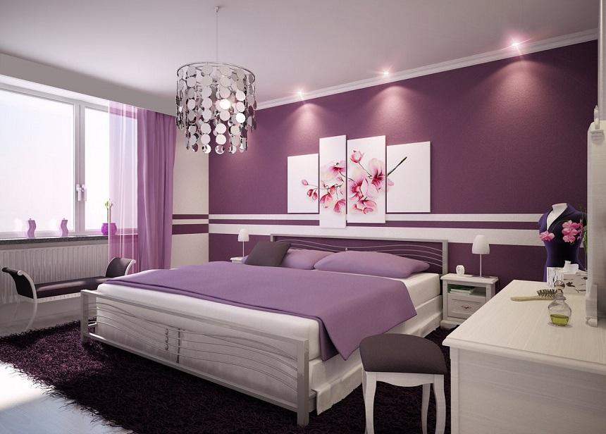 màu tím trong phòng ngủ